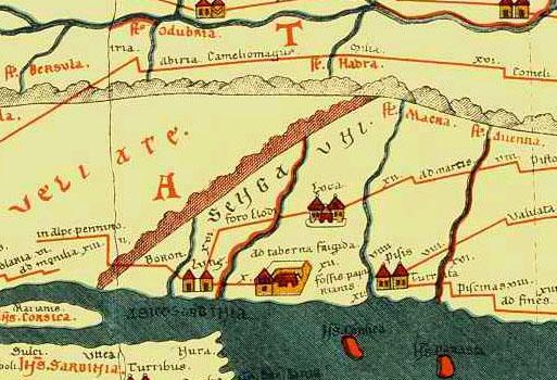 Tabula Peutingeriana - Emilia e  Lunigiana antiche